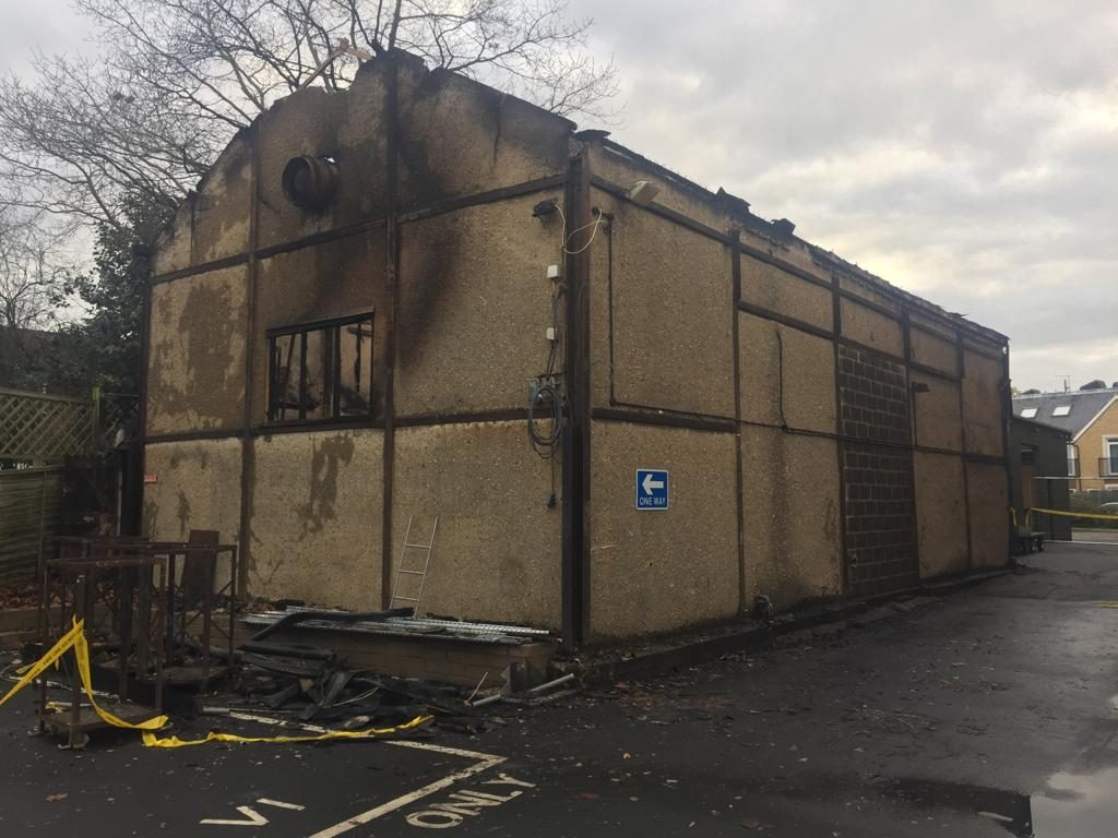 Burnt out building